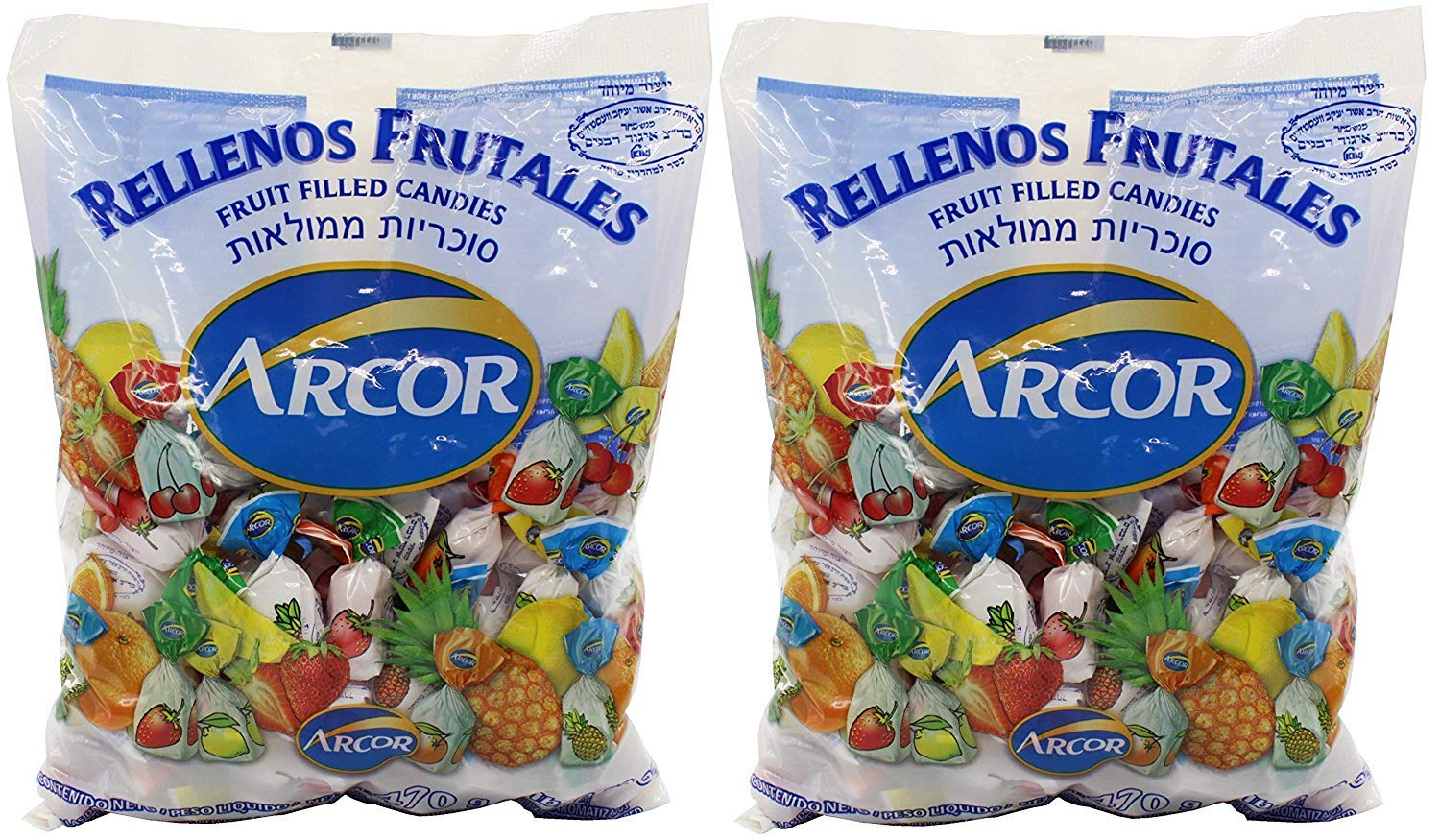 Arcor Assorted Fruit Flavored Kosher Candy with Chewy Centers, Pack of 2