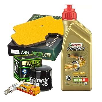 Kit de mantenimiento Castrol Power 1 10W40 con filtro de aceite, aire y bujías para Kawasaki ER-6N de 2006: Amazon.es: Coche y moto