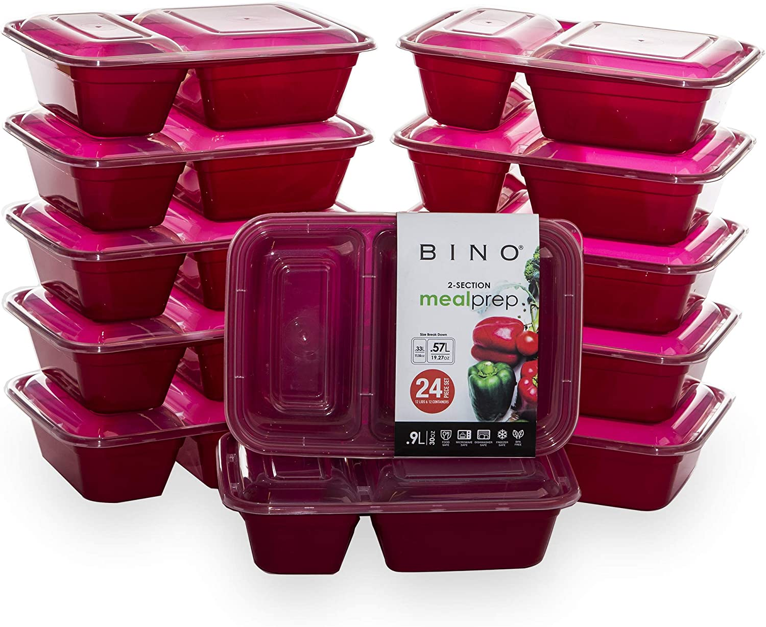 BINO Meal Prep Containers with Lids - 2 Compartment /30 oz [12-Pack], Red - Bento Box Lunch Containers for Adults Food Containers Meal Prep Food Prep Containers Set