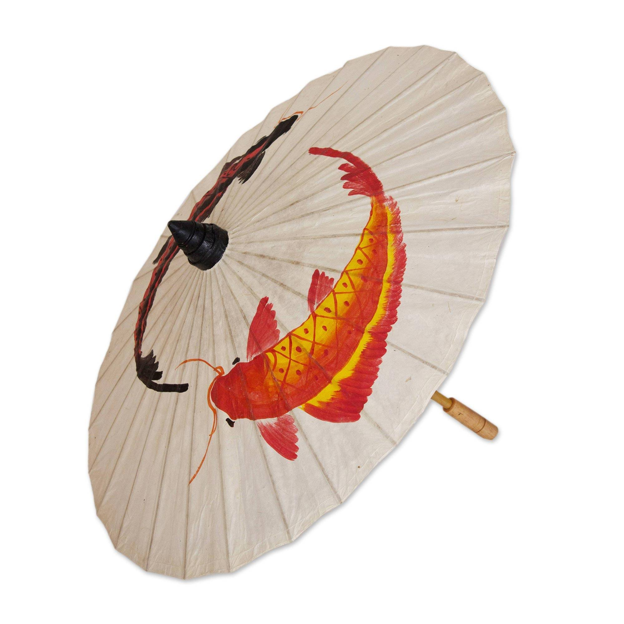 NOVICA Animal Themed Paper and Bamboo Parasol, Multicolor 'Lucky Koi'