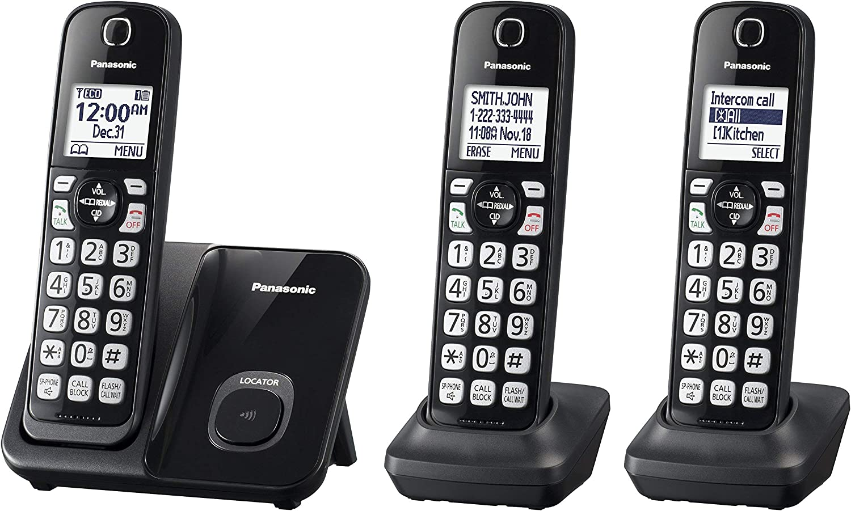 Panasonic KX-TGD513B Expandable Cordless Phone with Call Block - 3 Handsets (Renewed)