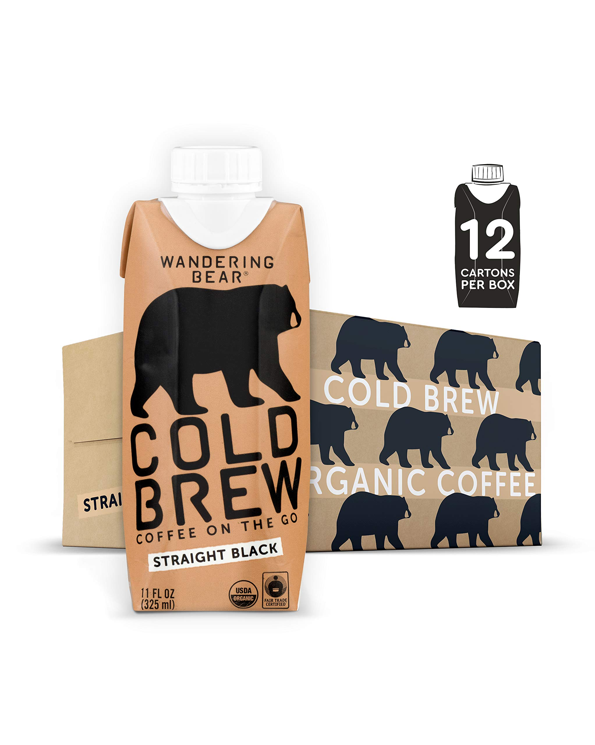 Wandering Bear Organic Cold Brew Coffee On-the-Go 11 oz Carton, Straight Black, No Sugar, Ready to Drink, Not a Concentrate (Pack of 12)