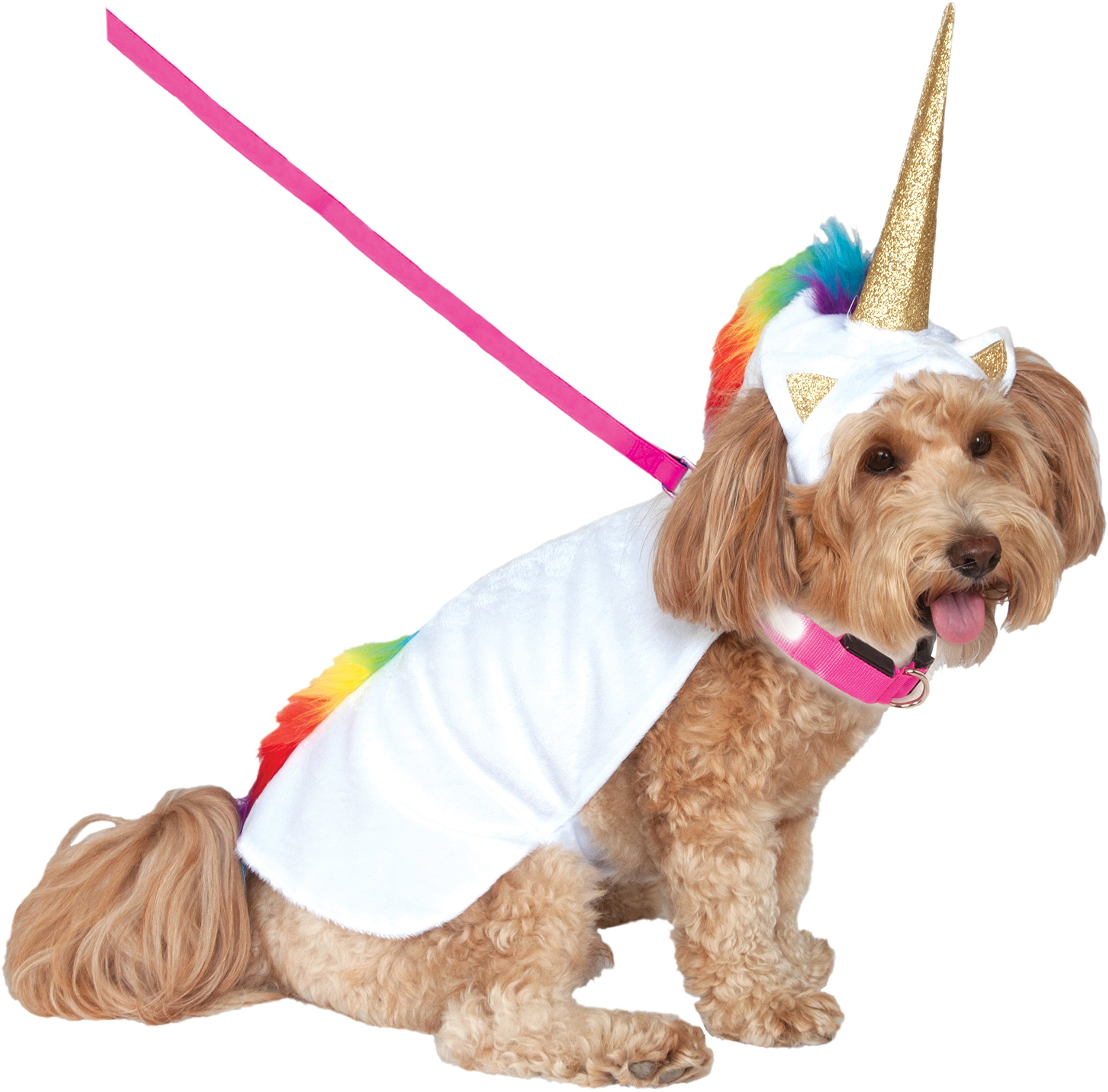 Rubie's Unicorn Cape with Hood and Light-Up Collar Pet Costume, Large