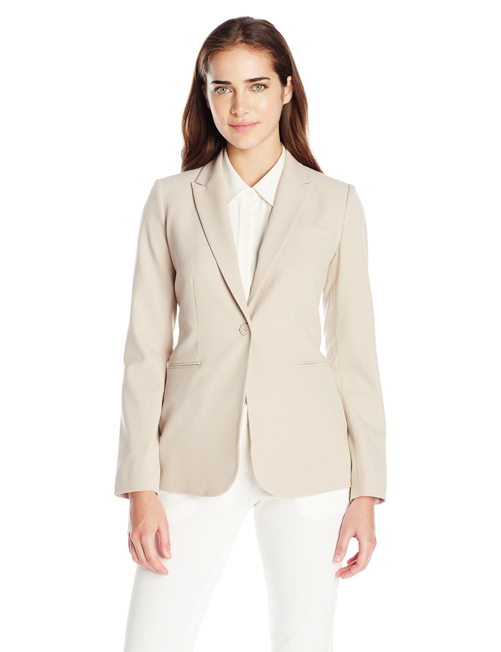 Calvin Klein Women's Single Button Suit Jacket, Latte, 6