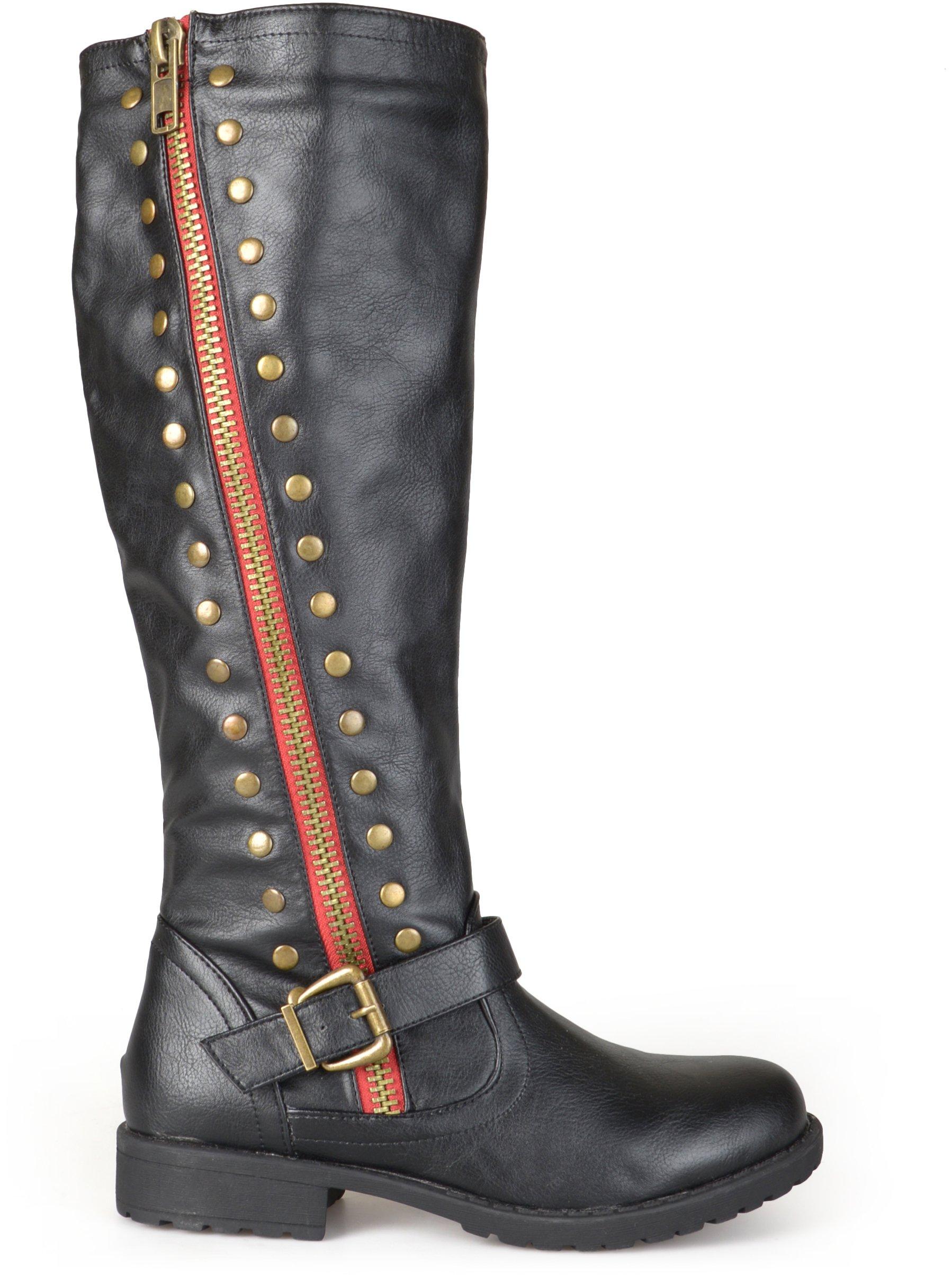 Brinley Co Women's Whirl Knee High Boot, Black, 8 Regular US