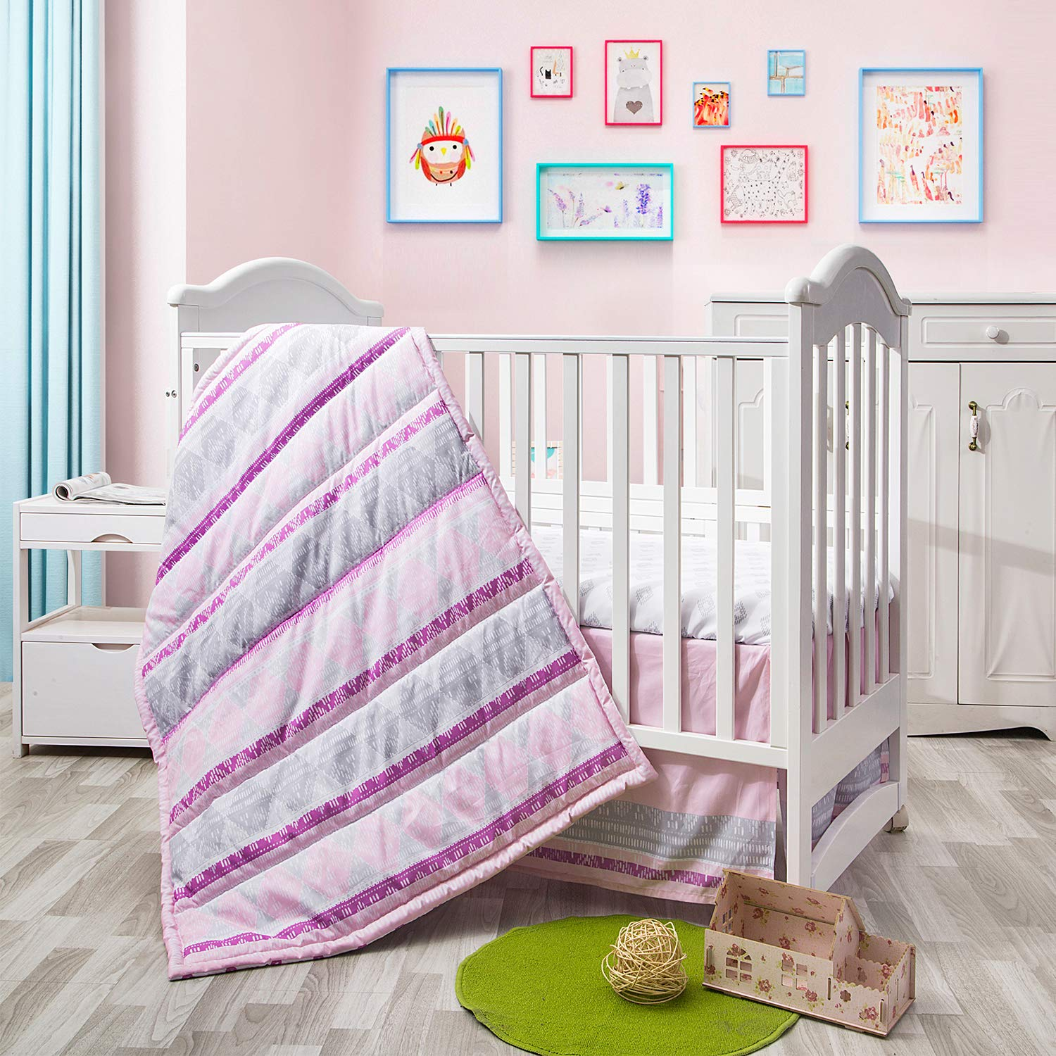 Little Grape Land 3-Piece Nursery Crib Bedding Sets, Soft Polyester Microfiber for Standard Size Crib Bedding Sets for Girl Pink/Purple/Grey/White, (Rosy Diamond)