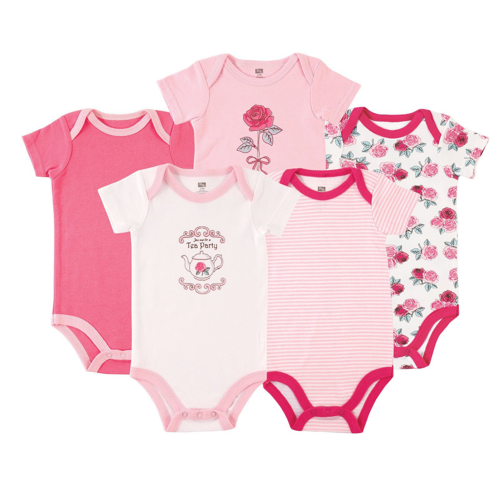 Hudson Baby Infant Cotton Bodysuits 5 Pack Bodysuits Clothing