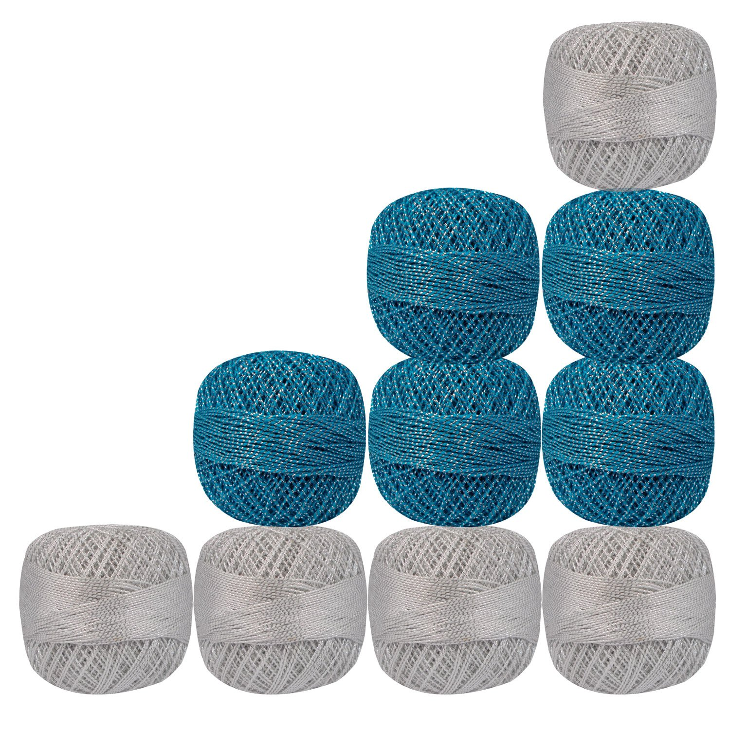 Set of 10 Pcs White And Blue with Metallic Silver Yarn Tatting Thread Double Color Cotton Crochet Blue Skeins Lacey Craft Knitting Doilies