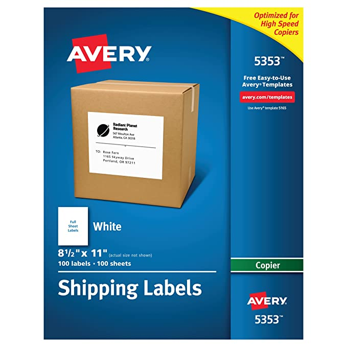 Amazon avery full sheet labels for copiers 8 12 x 11 box amazon avery full sheet labels for copiers 8 12 x 11 box of 100 5353 label paper full sheet office products saigontimesfo
