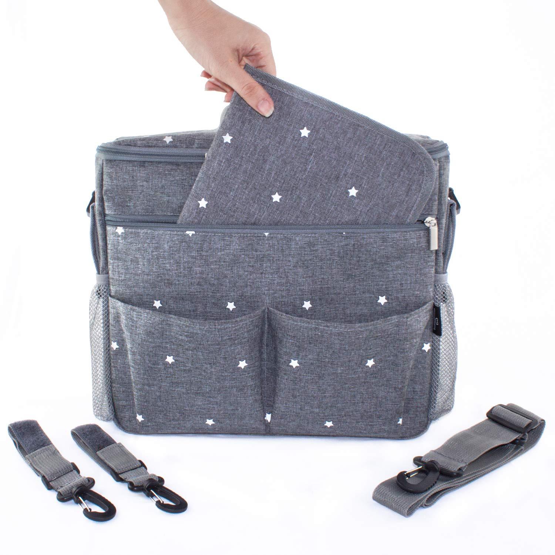Bolso cambiador para carrito de beb/é ganchos y correa universal Gris//estrellas. Organizador con interior t/érmico Compacto y moderno