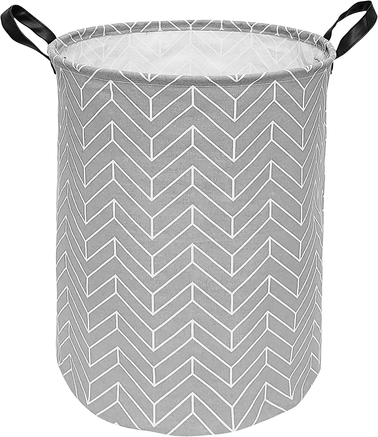 HUAYEE 19.6 Inches Large Laundry Basket Waterproof Round Cotton Linen Collapsible Storage bin with Handles for Hamper Kids Room,Toy Storage(Geometric)