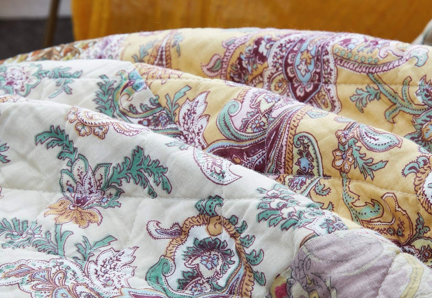 DaDa Bedding Bohemian Patchwork Bedspread - Burgundy Wine Velvety Trim - Vintage Floral Roses Paisley - Bright Vibrant Multi-Colorful Quilted Set - Queen - 3-Pieces by DaDa Bedding Collection (Image #5)