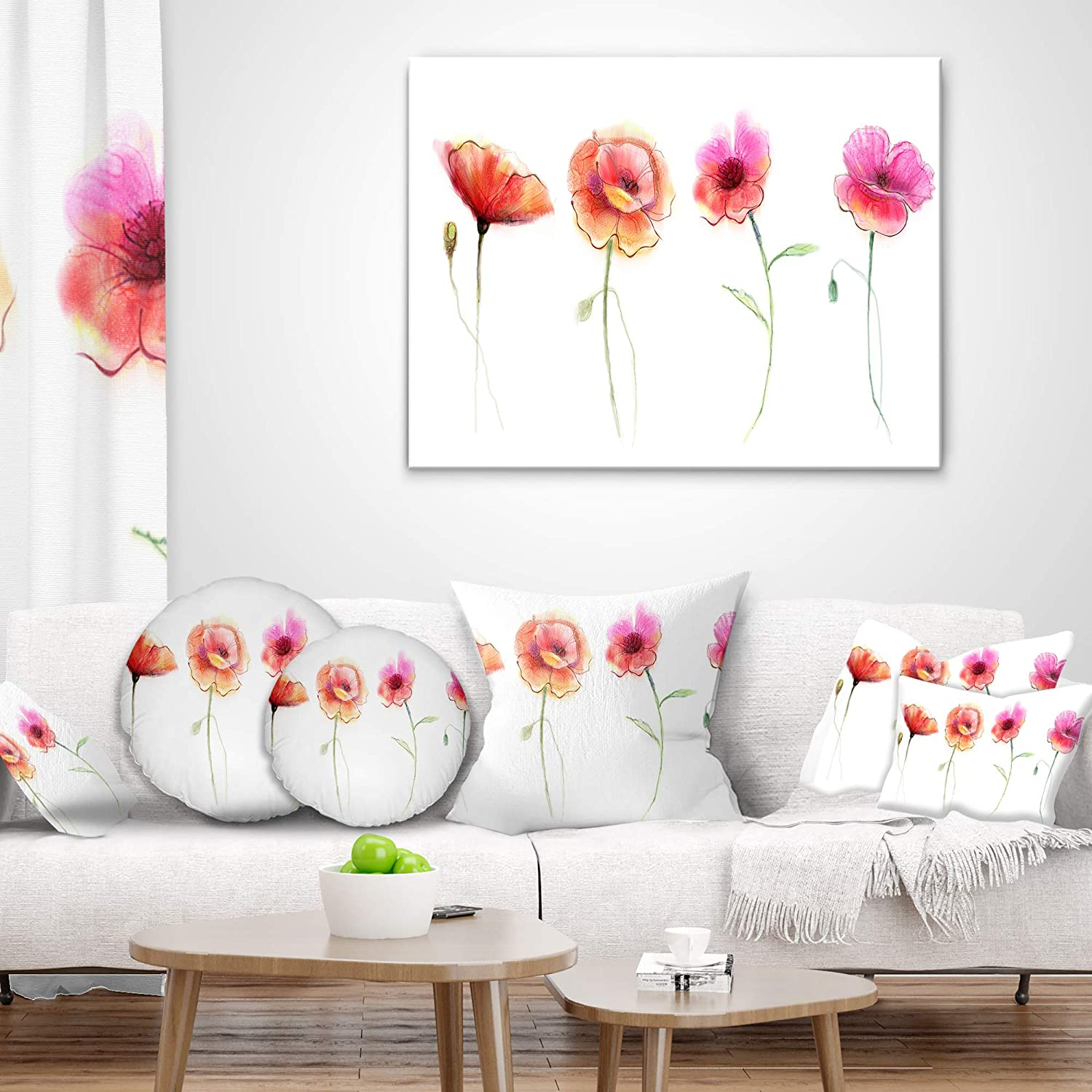12 In Throw Pillow Designart Cu13857 12 20 Watercolor Poppy Sketch Flower Lumbar Cushion Cover For