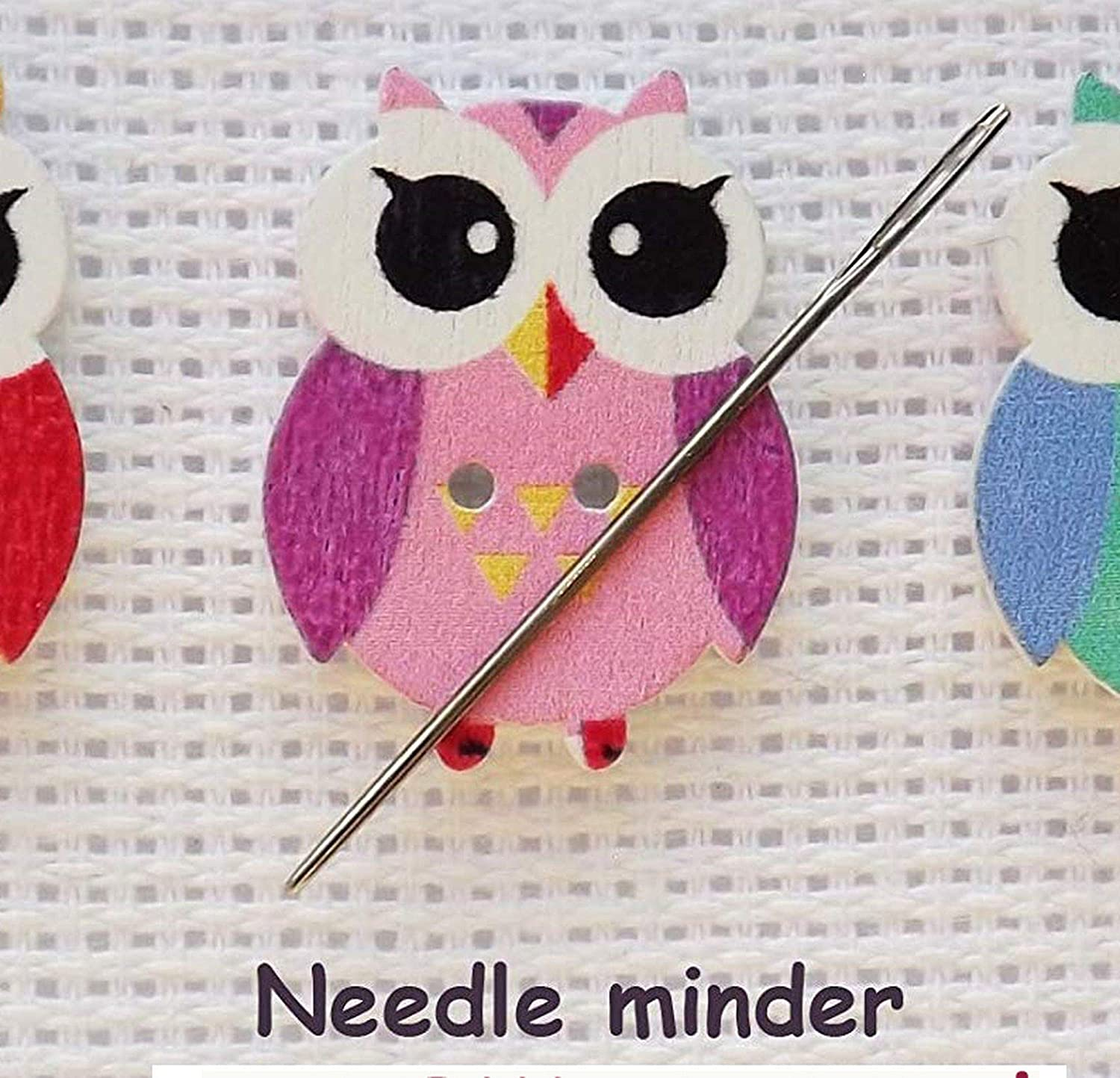 Large Pink Owl Needleminder//Magnet For Cross Stitch// Embroidery