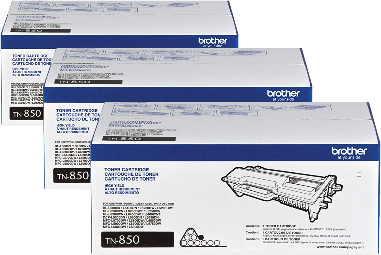 Brother TN-850 DCP-L5500 L5600 L5650 HL-L5000D L5100 L5200 L5200 Toner Cartridge (Black) in Retail Packaging / 3-Toner Cartridges
