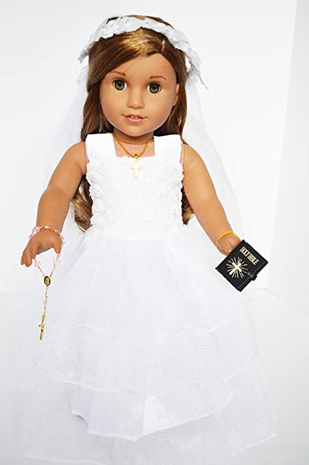 "Communion Dress~Veil~Bible 14/"" Doll Clothes Fit American Girl Wellie Wishers"
