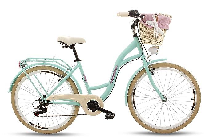 Goetze RGO052606-810408 Mood 26 6B Damen Citybike Stadtrad Damenfahrrad Damenrad Hollandrad Retro-Design 6-Gang LED-Beleuchtu
