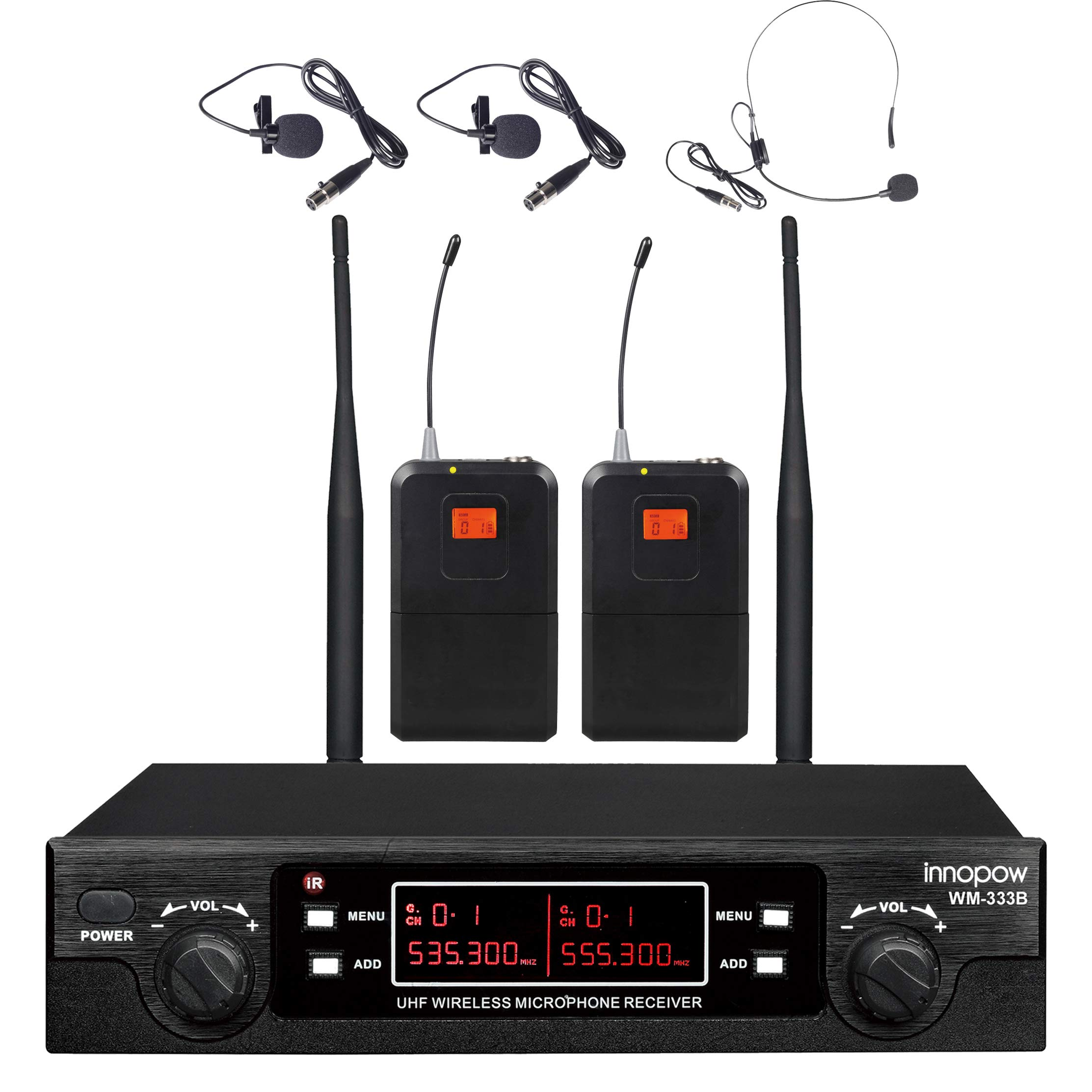 innopow 80-Channel Dual UHF Wireless Microphone System,inp cordless mic set,1 Headset& 2 Lapel Lavalier Microphone, Long Distance 200-240Ft Prevent Interference,16 Hours Use for Church, Weddings