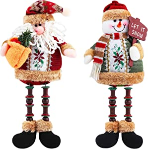 Aneco 2 Pack Handmade Christmas Long Legs Ornament Table Decorations Sitting Santa Snowman Desktop Table Decor Supplies