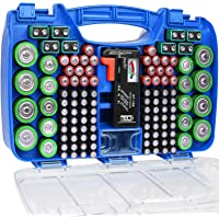 The Battery Organizer Storage Case with Hinged Clear Cover, Includes a Removable Battery Tester, Holds 180 Batteries…