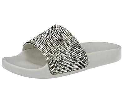 c67a654d8 Ladies Girls ELLA Diamante Fashion Sliders Open Toe Flat Slip On Sandals  Mules Size 10-