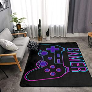 Gamer Video Game Soft Area Rugs for Bedroom, Washable Fluffy Carpets for Nursery Baby Rooms Non Slip Kids Play Mats Holiday Decor Rug, 4x5 Feet
