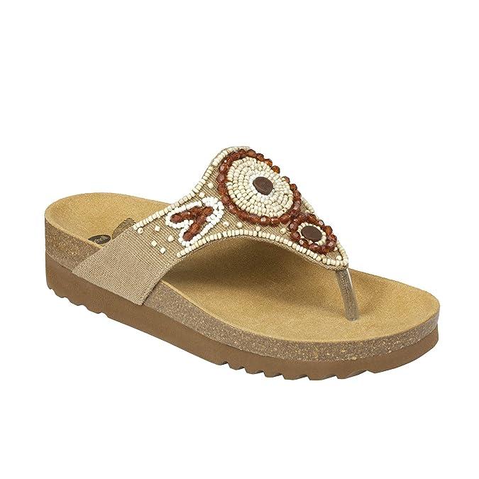 Scholl Sandalen TAILA – Bequeme Damen Zehensandale mit Perlen und ergonomischem Fußbett – 40mm Absatz