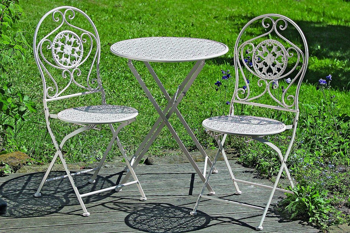 Tischset Rina, Tisch und 2 Stühle in Metall beige, Landhausstil , Shabby Chic