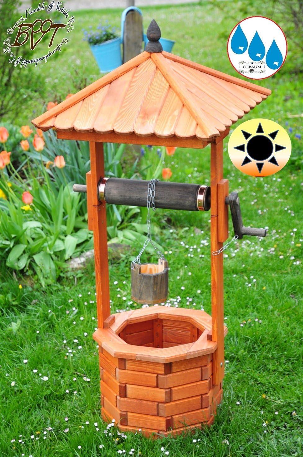 XXL de madera de Brunnen, Diseñador de jardín Brunnen aprox. 160 – 170 cm, einstöckig EXP160 de AT de MS clásico con rollo & cubo, Negro completamente funcionales, con detalles, cadena de