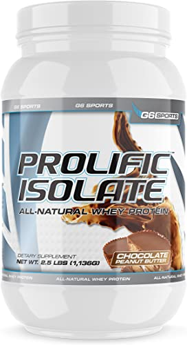 G6 Sports Nutrition Prolific Isolate All Natural Whey Protein Isolate Gluten Free, Lactose Free, Soy Free, Stevia Sweetened, 25g Protein, 100 Calories 2.5lb Jar Chocolate Peanut Butter