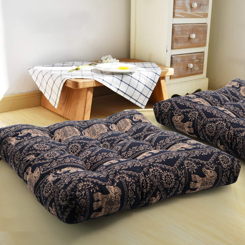 HIGOGOGO Meditation Cushion, Elephant Pattern Mandala Bohemian Style Floor Pillow Square Cotton Linen Indian Seat Cushion Yoga Pillow for Floor, Reading Nook, Bay Window, 22x22 Inch, Black