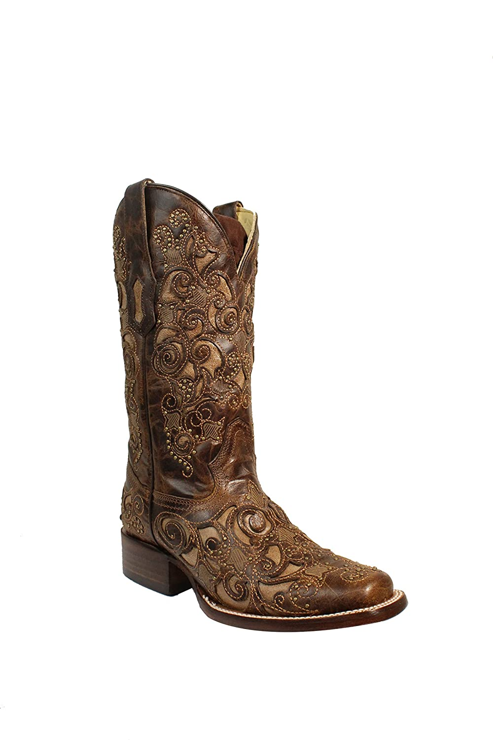 9ad1c79f767 Amazon.com | Corral Women's Brown Inlay & Studs with Embroidery ...