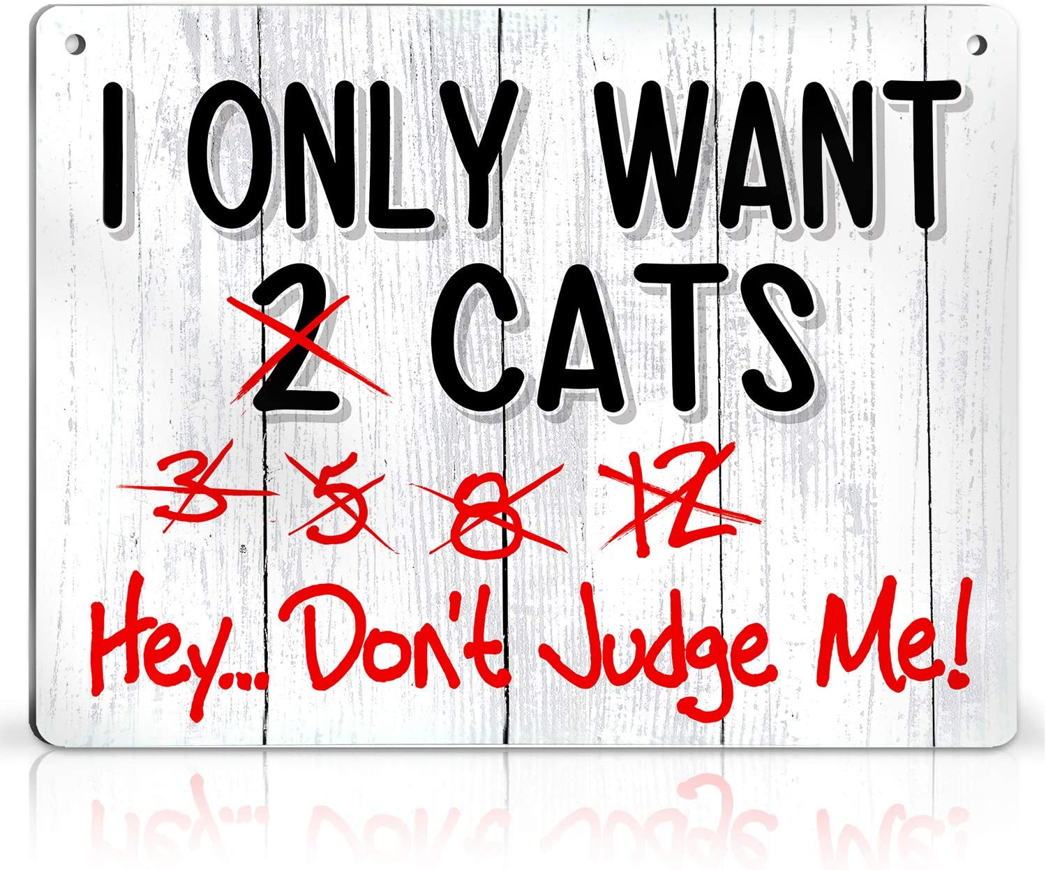 Bigtime Signs I Only Want Cats - Funny Farm, Home, Kitchen, Outdoor, Kitten and House Decorations - 2 Holes for Easy Hanging, Strong Material - Silly Decor for Kitty Fans, Farmers - 9 x 12 inch