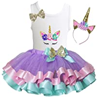 Kirei Sui Girls Lavender Pastel Satin Tutu & Birthday Floral Unicorn Tank Top