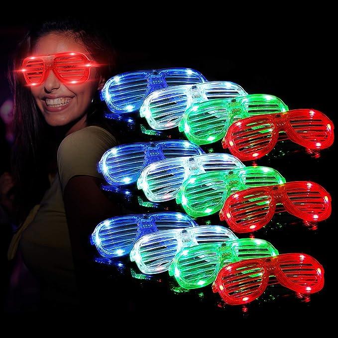 Set de 12 gafas luminosas con luz baratas