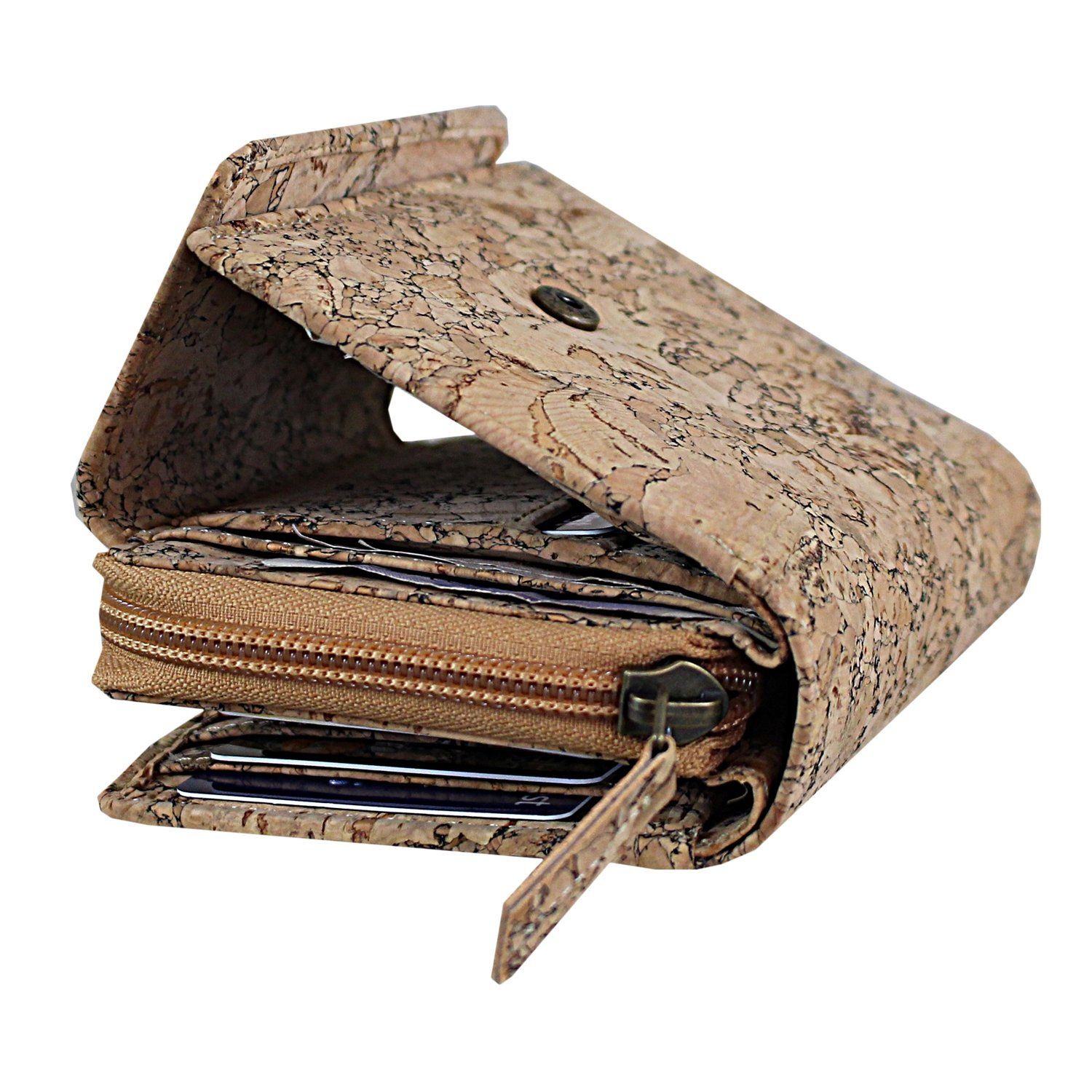 Cork Vegan Non Leather RFID Blocking Wallet Purse for Women. Made from Natural Cork – Lightweight, Stylish, Unique, Environmentally Friendly and Ethical. 11 Card Slots, ID & Zip Pocket for Coins CA-1152