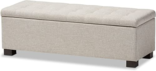 Baxton Studio Orillia Modern and Contemporary Beige Fabric Upholstered Grid-Tufting Storage Ottoman Bench