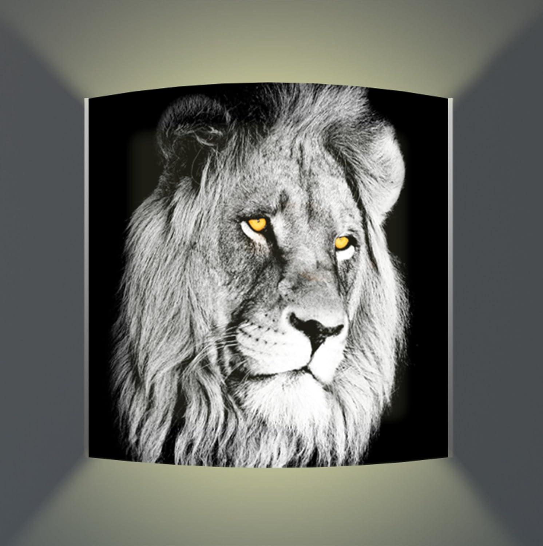 Luminoase-Leuchten - Leuchte Einzigartige Löwe - Nachleuchtende hochwertige LED Acrylglas Wandbildlampe - Motiv Tier