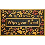 "Large Wipe Your Paws Doormat Outdoor Heavy Duty Recycled Rubber Non Slip Front Door Mat Outside Waterproof Shoes Scraper Entryway Rug for Patio Porch Home Decor Exterior Welcome Mats 24""x36"""