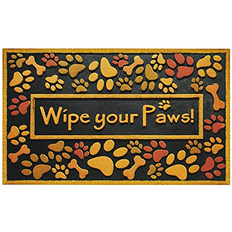 Large Wipe Your Paws Doormat Outdoor Heavy Duty Recycled Rubber Non Slip  Front Door Mat Outside