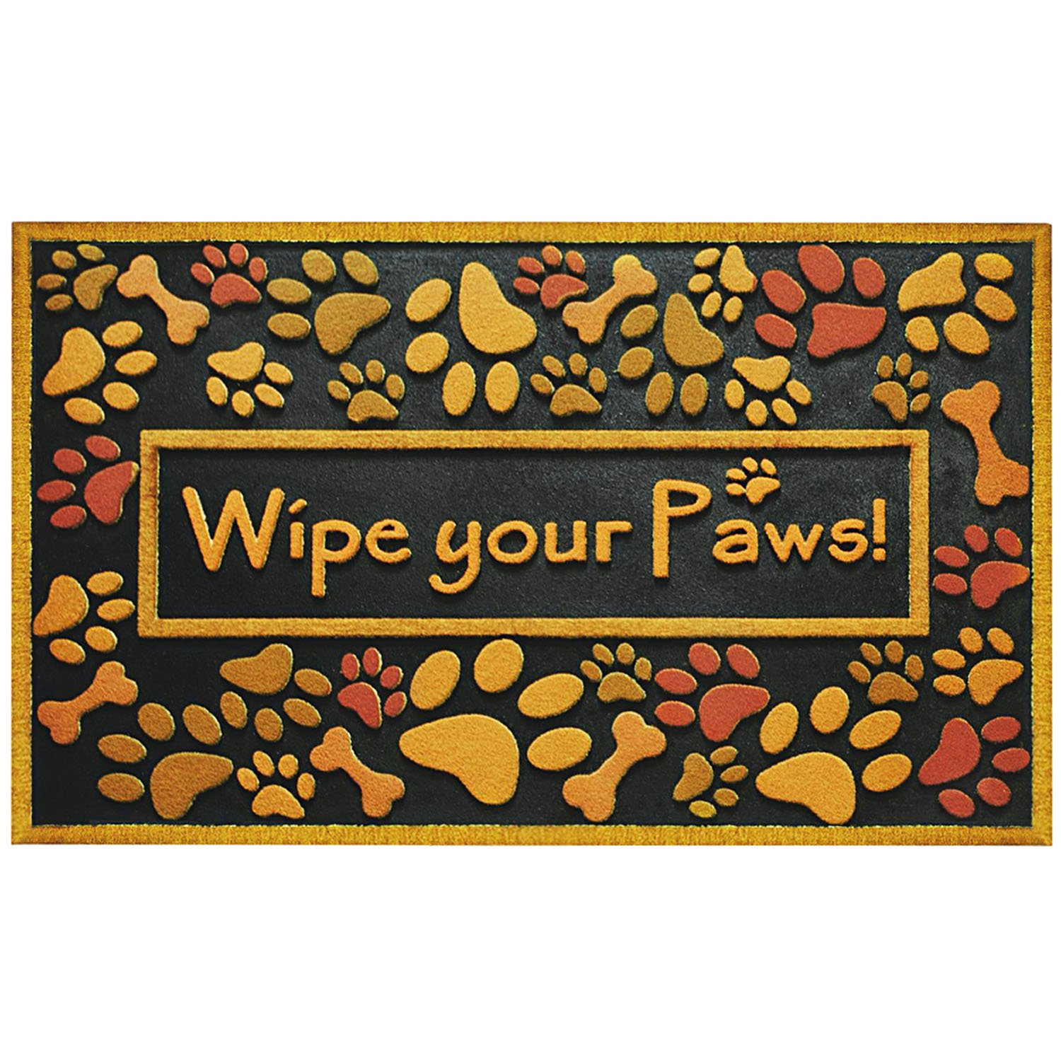 Door Mat Rug Wipe Paws Dog Puppy Paw Prints Entryway Home Decor Gift NEW
