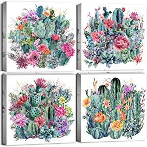 Tropical Cactus Wall Art Kitchen Decor Canvas Prints Green Succulent Plant for Bathroom Home Decoration Framed Pictures Watercolor Flower Floral Painting Modern Boho Office Decorative 12×12 Inch 4Pcs