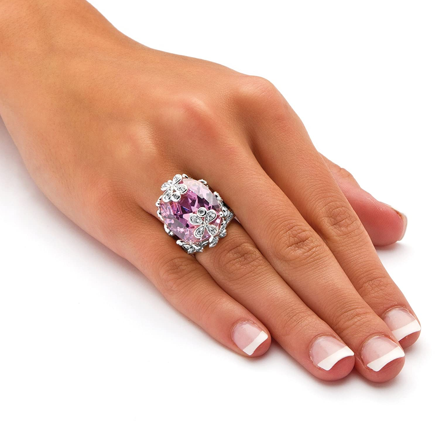 Silver Tone Oval Cut Pink Cubic Zirconia Butterfly and Flower Ring