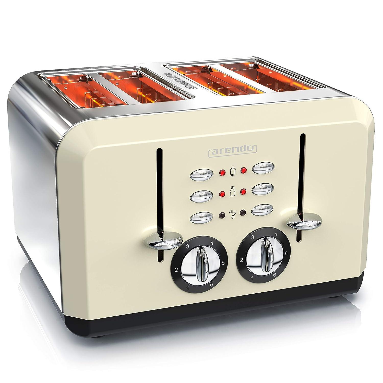 automatik 4 scheiben retro toaster mit edelstahlgehaeuse