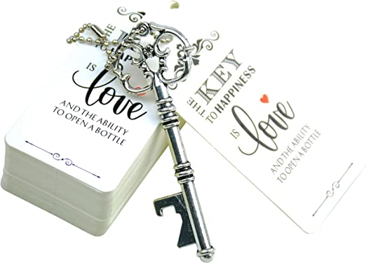 Antique Silver Aokbean 52pcs Vintage Skeleton Key Bottle Opener Party Favor Wedding Favor Guest Souvenir Gift Set with Escort Thank You Tag Card and Keychain
