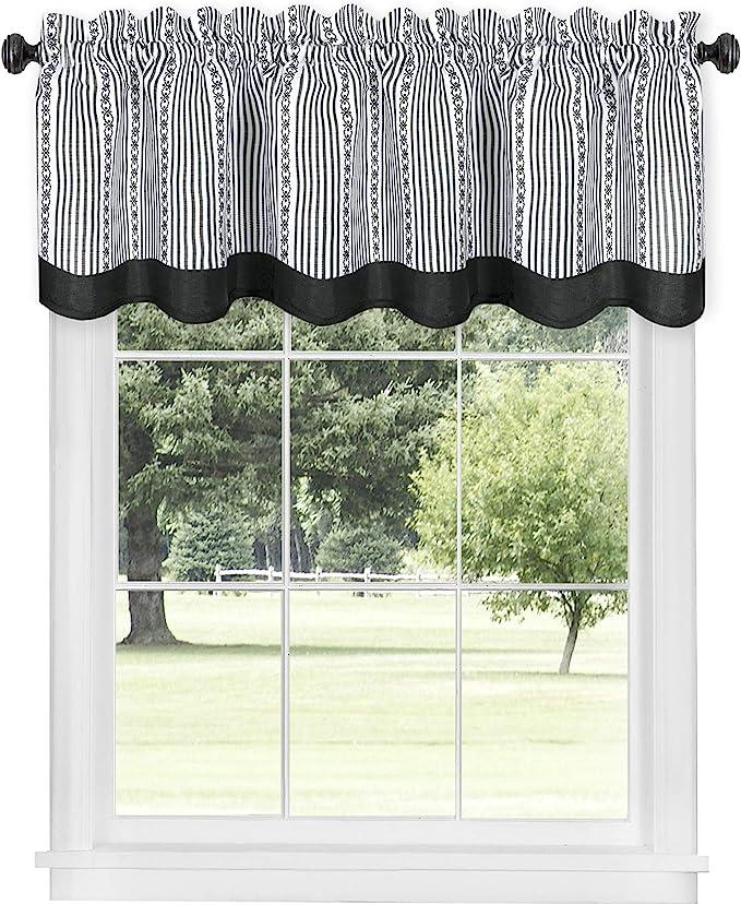 Amazon Com Achim Home Furnishings Black White Westport Window Curtain Valance 58 X14 Wevl14bw12 Home Kitchen