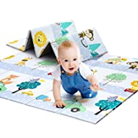 """Foldable Baby Play Mat 0.6 Inch Thick Waterproof Baby Crawling Mat 79"""" x 71"""" Extra Large Play Mats for Babies Alphabets Reversible Multifunctional Mats"""