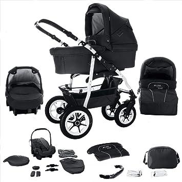 Carrito combinado de bebé 3 en 1 modelo Bellami de Bebebi, con neumáticos duros en blanco negro Bellanero Talla:Luft: Amazon.es: Bebé