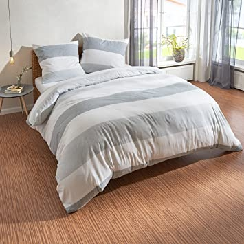 Traumschlaf Biber Bettwäsche Streifen Grau 200x200 Cm 2x 80x80 Cm