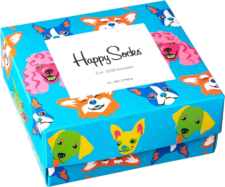 Blu//nero Happy Socks 2-pack Cani /& Ossa Calzini Scatola Regalo